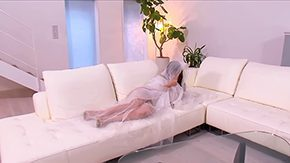 Hitomi Tanaka HD porn tube Large breasted Hitomi Tanaka enclosed by mattress creature touched her biggest mounds on