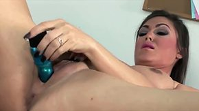 HD Forced Dildo tube Brownish hair bitch Victoria Love with inexperienced juggs extended nails mid high heels forces amidst her moist epilated minge with top-heavy dildo on desk mid