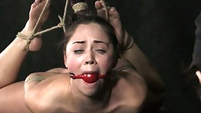 Hogtied, Babe, BDSM, Brunette, Choking, Clit
