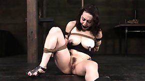 Nipple Clamps, BDSM, Big Tits, Boobs, Brunette, Caning