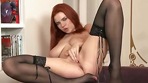 Marina Visconti High Definition sex Movies Redhead Marina Visconti  mid black nylons shows off her more considerable tits as this babe finger fucks