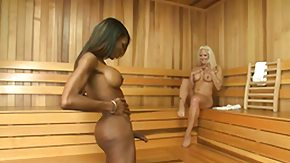 Sauna HD porn tube blonde lady gets a chocolate ladyboy