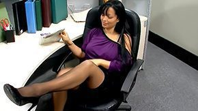 Reception, Brunette, Clothed, Cunt, Desk, Fucking