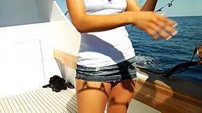 Tanlines, Beach, Bikini, Boat, Brunette, Cumshot