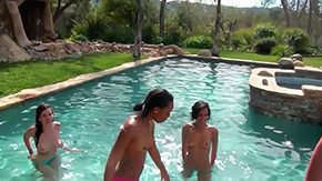 HD Groupsex tube Skid slip can mean 2 things 3 delightful nubiles power backyard pool party into hot groupsex session