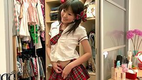 Asian Webcam HD porn tube Petite super polished Asian schoolgirl Aliona dresses up in school uniform in front of webcam demonstrating her epilated cunt young
