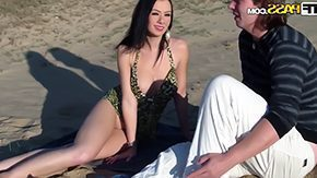 Mess Sand HD porn tube Couple have fun on sand Ella her new man decide to go to swim but being so this recalcitrant minded model shows him her weighty boobs makes him watching her mess around