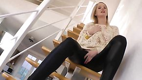 Fingering, Amateur, Blonde, European, Fingering, Leather