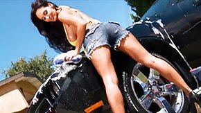 Car Wash, Big Pussy, Big Tits, Blowjob, Boobs, Brunette
