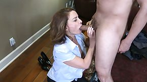 Rebecca, Blowjob, Brunette, Cumshot, Leggings, Mature