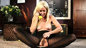 Free Erica Lauren HD porn Sexual blonde sweet cutie in dark-complexioned hosiery Erica Lauren fingers her tight pussy