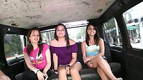 Bang Bus, Amateur, Blowbang, Blowjob, Brunette, Bus