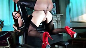 Stockings, Babe, Blowjob, Boots, Brunette, Cumshot
