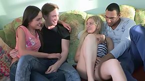 Two Couples, Barely Legal, Couple, Group, High Definition, Orgy