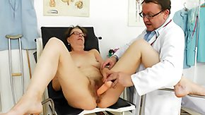 Doc, Brunette, Dildo, Glasses, Granny, Small Tits